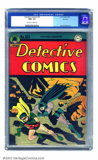 Detective Comics #103 Rockford pedigree (DC, 1945) CGC NM+ 9.6 Off-white to white pages. The amazing condition of this b...