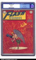 Golden Age (1938-1955):Superhero, Flash Comics #104 (DC, 1949) CGC VF 8.0 Off-white pages. Joe Kubert's classy cover highlights this issue, which, as the fina...