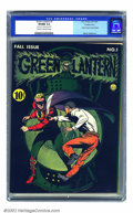 Golden Age (1938-1955):Superhero, Green Lantern #1 Double cover (DC, 1941) CGC VF/NM 9.0 Cream to off-white pages. Ranked number 16 on the 2002 Overstreet's T...