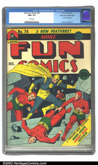 More Fun Comics #74 Mile High pedigree (DC, 1941) CGC NM+ 9.6 White pages. A fantastic More Fun cover and an all around...