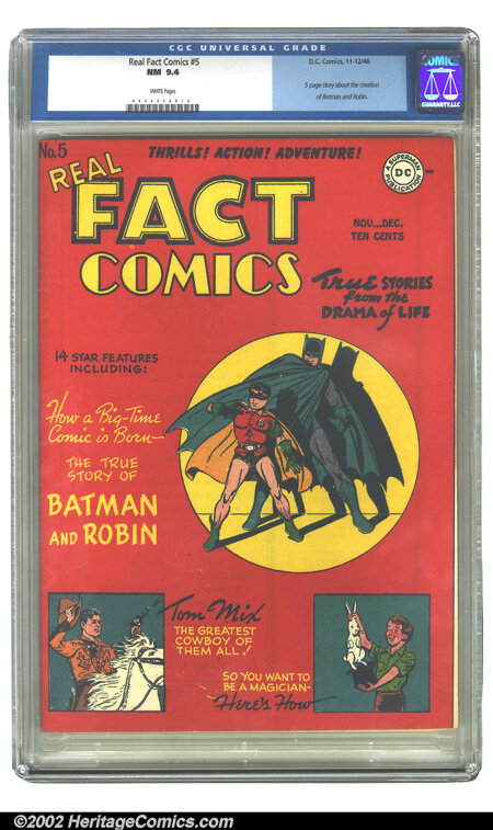 Real Fact Comics #5 (DC, 1946) CGC NM 9.4 White pages. Awash in red, this unique book promises to reveal how a big-time comi...