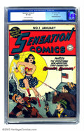 """Golden Age (1938-1955):Superhero, Sensation Comics #1 """"D"""" pedigree (DC, 1942) CGC VF 8.0 Cream to off-white pages. One month after her first comics appearance..."""