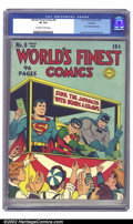 Golden Age (1938-1955):Superhero, World's Finest Comics #8 Rockford pedigree (DC, 1942) CGC VF 8.0 Off-white to white pages. But for a corner crease on the fr...