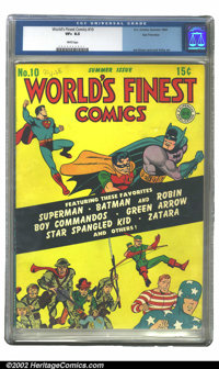 World's Finest Comics #10 San Francisco pedigree (DC, 1943) CGC VF+ 8.5 White pages. The San Francisco collection is kno...