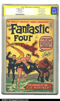 Fantastic Four #4 Stan Lee File Copy (Marvel, 1962) CGC FN- 5.5 Off-white pages. Signature Series. One of the most impor...