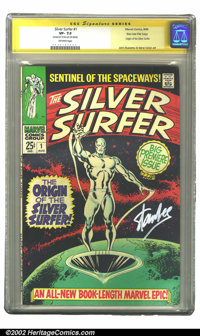 The Silver Surfer #1 Stan Lee File Copy (Marvel, 1968) CGC VF- 7.5 Off-white pages. Signature Series. This large squareb...