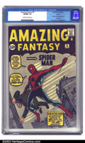 "Silver Age (1956-1969):Superhero, Amazing Fantasy #15 Curator pedigree (Marvel, 1962). ""And so a legend is born, and a new name is added to the roster of th..."