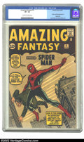 Silver Age (1956-1969):Superhero, Amazing Fantasy #15 (Marvel, 1962) CGC VF- 7.5 Cream to off-whitepages. It's ranked #1 in value among all Silver Age books,...