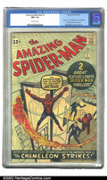 Silver Age (1956-1969):Superhero, The Amazing Spider-Man #1 (Marvel, 1963) CGC NM- 9.2 Off-whitepages. Spider-Man's first issue of his own title continues to...