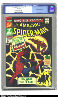 The Amazing Spider-Man Annual #4 (Marvel, 1967) CGC NM 9.4 Off-white to white pages. It's a squarebound. It has a black...