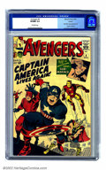 "Silver Age (1956-1969):Superhero, The Avengers #4 Circle 8 pedigree (Marvel, 1964) CGC VF/NM 9.0 Off-white pages. How revitalized Jack ""King"" Kirby must have ..."