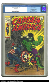 Captain America #110 (Marvel, 1969) CGC NM+ 9.6 White pages. Here you have a fantastic Steranko cover displaying the Hul...