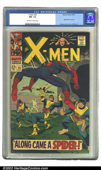 X-Men #35 (Marvel, 1967) CGC NM- 9.2 Off-white to white pages. Spider-Man leaps into action on the cover of this X-Men i...
