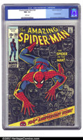 Bronze Age (1970-1979):Superhero, The Amazing Spider-Man #100 (Marvel, 1971) CGC NM+ 9.6 White pages.Spidey celebrates 100 issues with this spectacular issue...