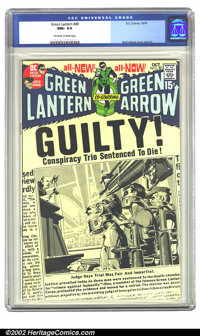 Green Lantern #80 (DC, 1970) CGC NM+ 9.6 Off-white to white pages. A cover in the form of a newspaper headline shows '70...