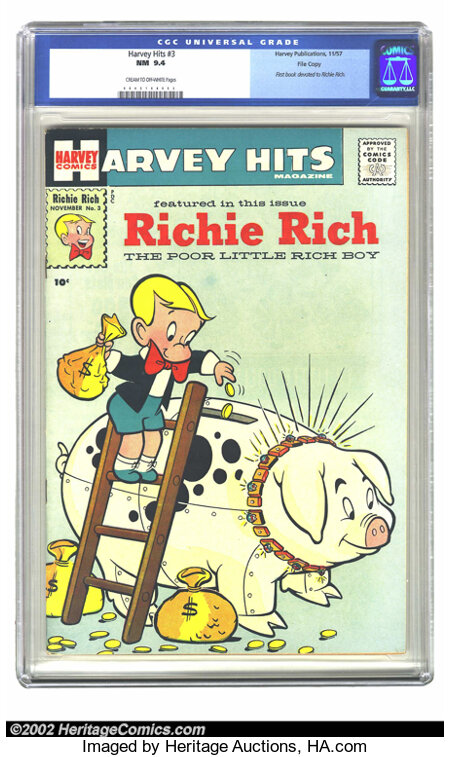 Harvey Hits #3 File Copy (Harvey, 1957) CGC NM 9.4 Cream to off-white pages. This key issue is the very first comic devoted ...