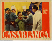 """Casablanca (Warner Brothers, 1942). Lobby Card (11"""" X 14""""). Peter Lorre is arrested for the murder of a German..."""