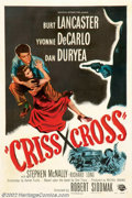 "Movie Posters:Film Noir, Criss Cross (Universal, 1949). One Sheet (27"" X 41""). Burt Lancaster and Tony Curtis (in his first screen appearance) blaze ..."