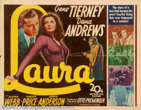 "Laura (20th Century Fox, 1944). Half Sheet (22"" X 28""). Dana Andrews stars in this classic film noir as a cop..."