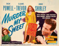 "Movie Posters:Film Noir, Murder My Sweet (RKO, 1944). Half Sheet (22"" X 28""). Up until theearly the release of this film, Dick Powell was known as a..."