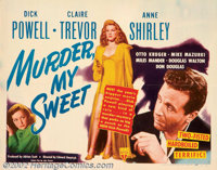 """Murder My Sweet (RKO, 1944). Half Sheet (22"""" X 28""""). Up until the early the release of this film, Dick Powell..."""