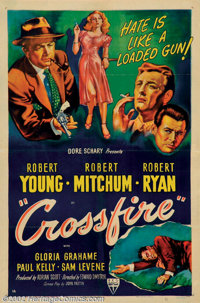 """Crossfire (RKO, 1947). One Sheet (27"""" X 41""""). Edward Dmytryke directed another great film noir classic with th..."""