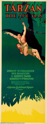 "Tarzan the Ape Man (MGM, 1932). Insert (14"" X 36""). Johnny Weissmuller, a 28 year old Olympic gold medalist ma..."