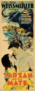 """Movie Posters:Action, Tarzan and His Mate (MGM, 1934). Insert (14"""" X 36""""). Hailed by many to be the best of the Tarzan films, this first sequel to..."""