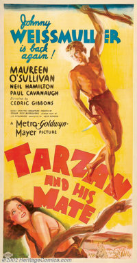 """Tarzan and His Mate (MGM, 1934). Three Sheet (47"""" X 81""""). Beautiful stone litho style poster for this classic..."""
