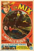 """Movie Posters:Serial, Miracle Rider, The (Mascot, 1935). One Sheet (27"""" X 41"""") Tom Mixwas the top cowboy movie star throughout the twenties and i..."""