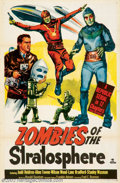 """Movie Posters:Serial, Zombies of the Stratosphere (Republic, 1952). One Sheet (27"""" X 41""""). Classic Republic low budget science fiction in the same..."""