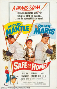 """Safe at Home (Columbia, 1962). One Sheet (27"""" X 41""""). After Roger Maris's amazing season of hitting 62 home ru..."""