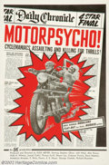 """Movie Posters:Action, Motor Psycho! (Eve Productions, 1965). One Sheet (27"""" X 41""""). This is an early Russ Meyer film and another example of the ti..."""