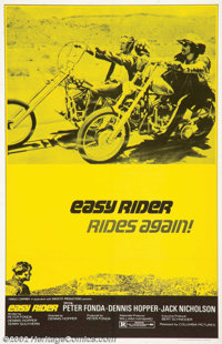 "Easy Rider (Columbia, R-1972). One Sheet (27"" X 41""). This incredibly rare reissue poster is the only one to s..."