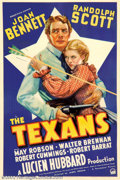 "Movie Posters:Western, The Texans (Paramount, 1938). One Sheet (27"" X 41""). Joan Bennettand Randolph Scott are featured against the Lone Star of T..."