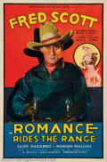 "Movie Posters:Western, Romance Rides the Range (Spectrum, 1936). One Sheet (27"" X 41"").Classic cowboy graphics make this One Sheet a stunner! Fred..."
