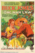 "Movie Posters:Western, One Man Law (Columbia, 1932). One Sheet (27"" X 41""). Very Good/Fineon Linen. ..."