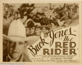 "Movie Posters:Western, Red Rider (Universal, 1934). Title Lobby Card (11"" X 14""). Greatcard for one of Jones early serials that went on to become ..."