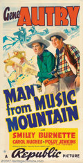 "Movie Posters:Western, The Man From Music Mountain (Republic, 1938). Three Sheet (41"" X81""). Gene Autry was known as the Yodelin' Cowboy and his p..."