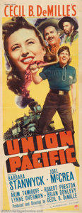 "Movie Posters:Western, Union Pacific (Paramount, 1939). Insert (14"" X 36""). Here's theperfect item for that railroad collector. With new train ent..."