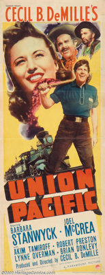 """Union Pacific (Paramount, 1939). Insert (14"""" X 36""""). Here's the perfect item for that railroad collector. With..."""
