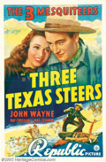 "Movie Posters:Western, Three Texas Steers (Republic, 1939). One Sheet (27"" X 41""). As JohnWayne's final years making B westerns came to a close, h..."