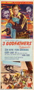 "Movie Posters:Western, Three Godfathers (MGM, 1948). Insert (14"" X 36""). John Forddirected John Wayne in this version of the Peter Kyne story whic..."