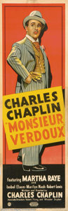 "Movie Posters:Drama, Monsieur Verdoux (United Artists, 1947). British Door Panel (20"" X 60"") Stone litho style full-length image of Charlie Chapl..."