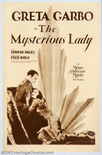 """Mysterious Lady (MGM, 1928). One Sheet (27"""" X 41"""") Greta Garbo was M-G-M's star of the first magnitude at the..."""