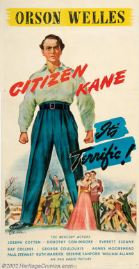 "Citizen Kane (RKO, 1941). Three Sheet (41"" X 81""). Orson Welles directorial debut was made with the controvers..."
