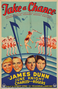 "Take a Chance (Paramount, 1933). One Sheet (27"" X 41"") Based on the musical ""Take A Chance"" by Buddy..."