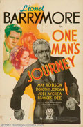 "Movie Posters:Drama, One Man's Journey (RKO, 1933). One Sheet (27"" X 41"") RKO Studio put a good deal of money into this epic story of a country d..."