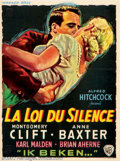 """Movie Posters:Mystery, I Confess (Warner Brothers, 1953). Belgian (14"""" X 19""""). Alfred Hitchcock looks into the conflict between the laws of man and..."""