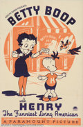 "Movie Posters:Animated, Betty Boop With Henry (Paramount, 1935). One Sheet (27"" X 41""). Maxand Dave Fleischer began their career in animation short..."